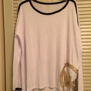 Michael Kors Woman's XL White With Gold Logo Tee
